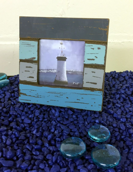 "Sea Blues Distressed Wooden Coast Frame 3"" x 3"" Photo"